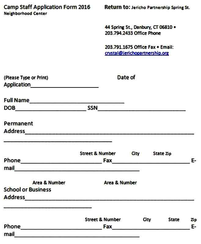 Camp Staff Application Form
