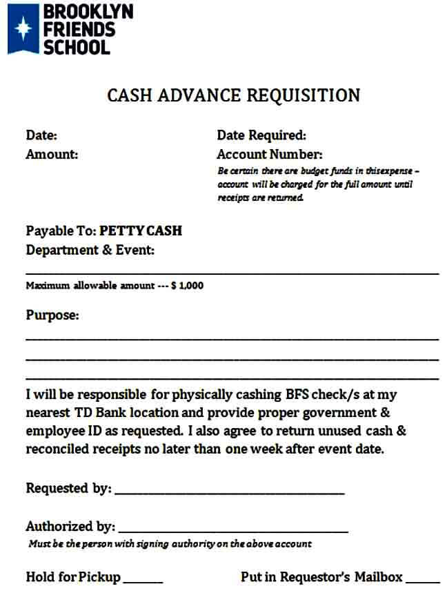 Cash Advance Requisition Form