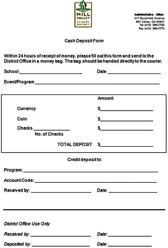 Cash Deposit Receipt Form