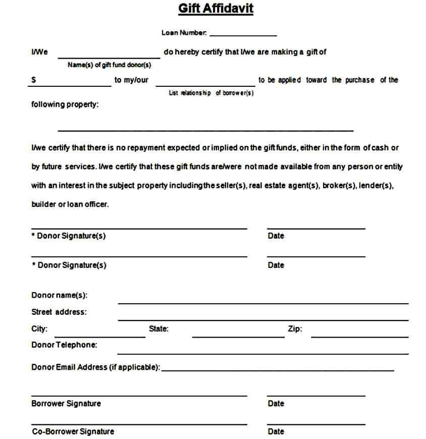 Cash Gift Affidavit Form