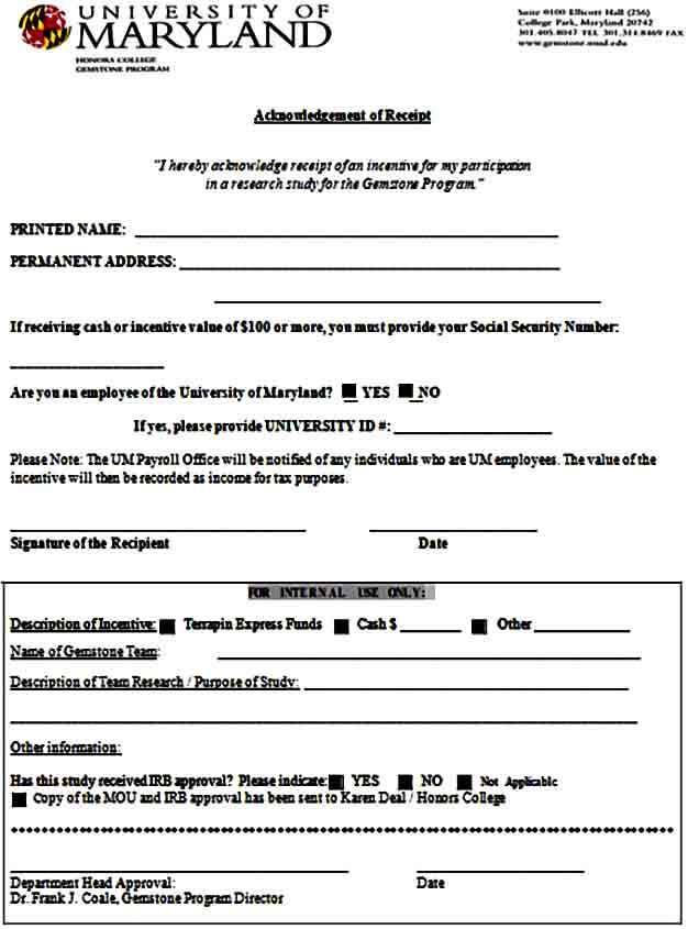 Cash Receipt Acknowledgment Form