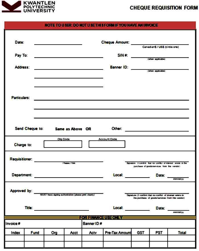 Cheque Payment Requisition Form