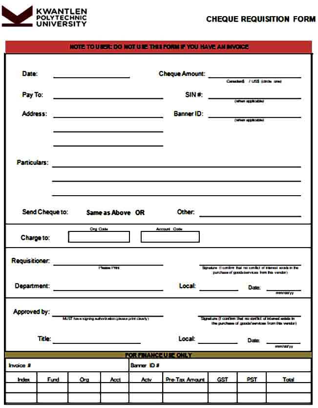 Cheque Requisition Form Sample