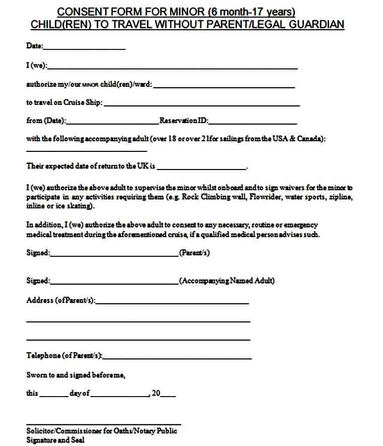Child Travel Consent Form Notary