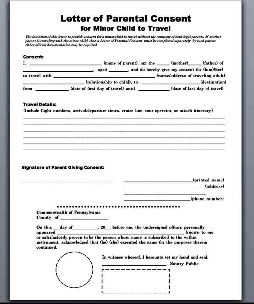 Child Travel Medical Consent Letter Form