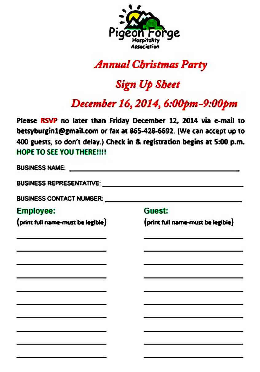 Christmas Party Sign Up Sheet in
