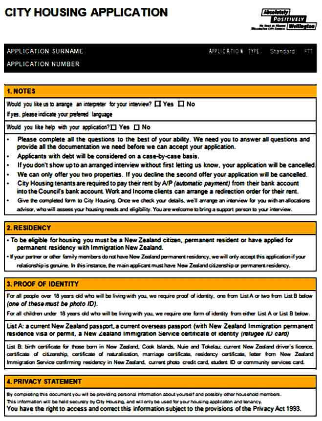 City Housing Application Form