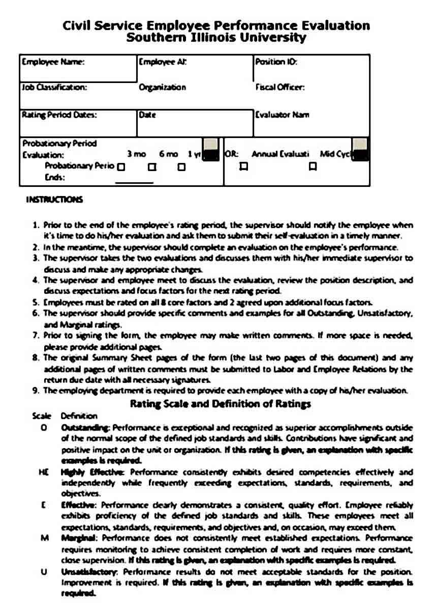 Civil Service Employee Performance Evaluation