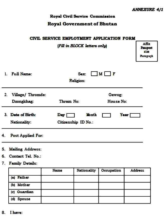 Civil Service Employment Application Form