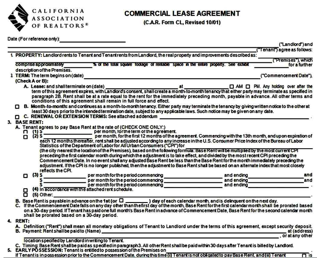 Commercial Lease Agreement Format