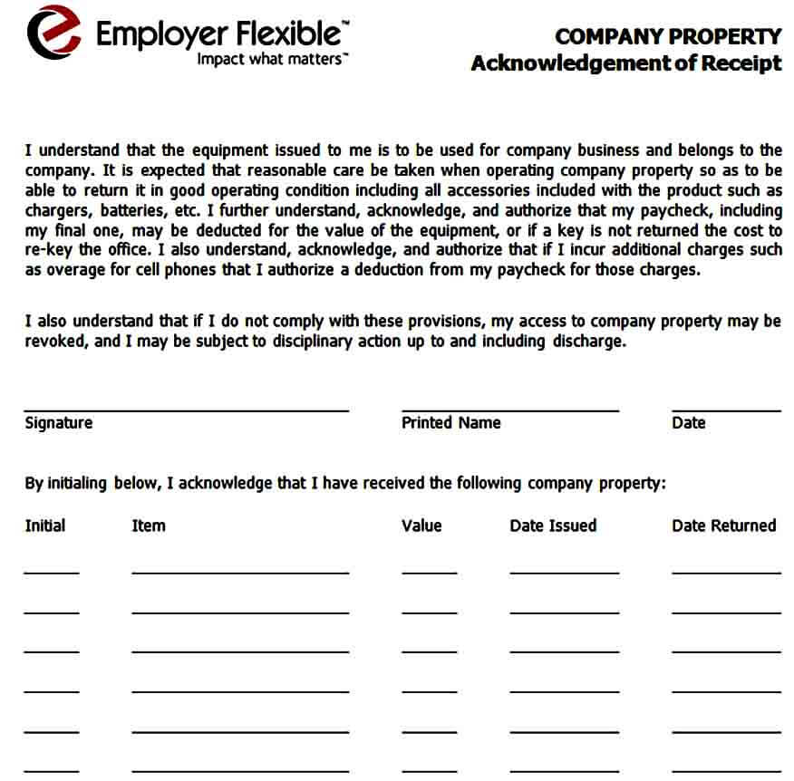 Company Equipment Receipt Form