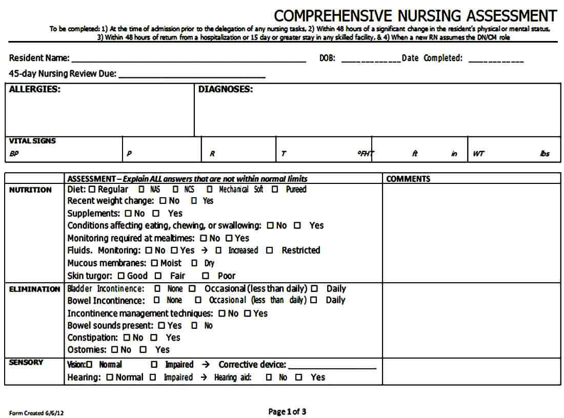 Comprehensive Nursing Assessment Form
