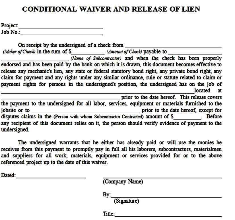 Conditional Waiver and Release of Lien Form