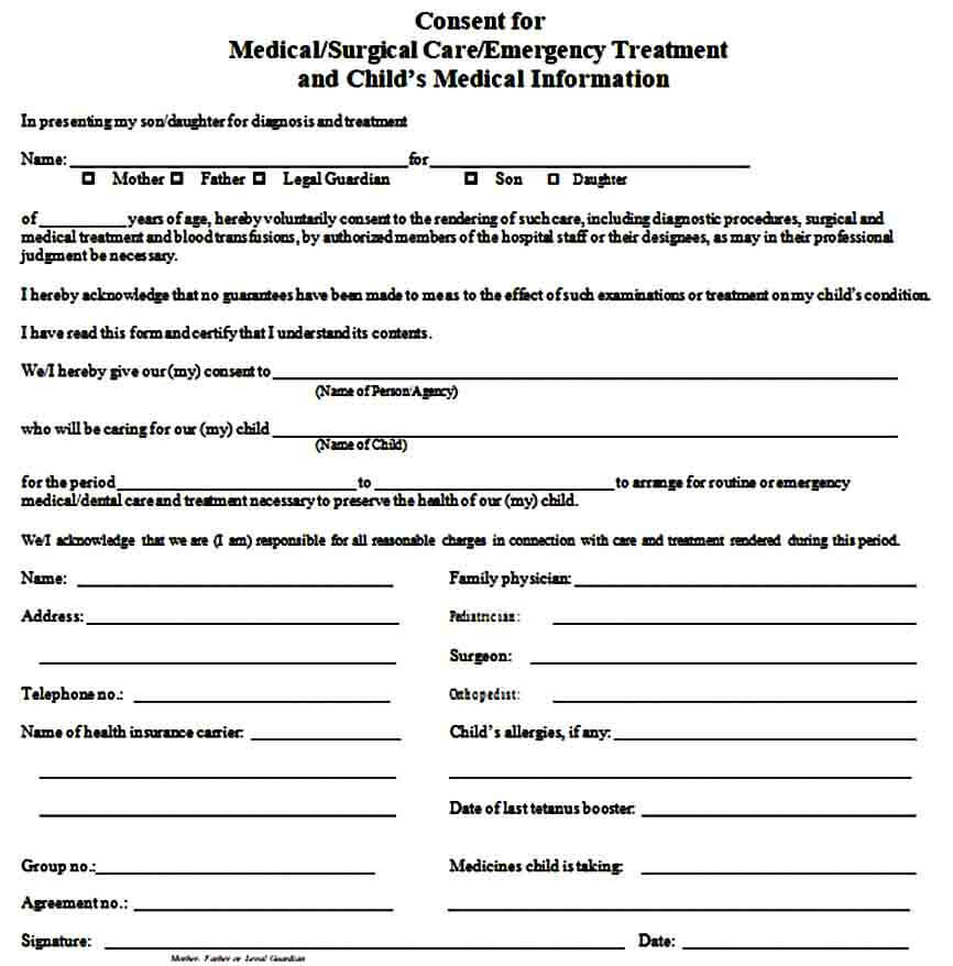Consent For Medical Treatment of a Minor Form