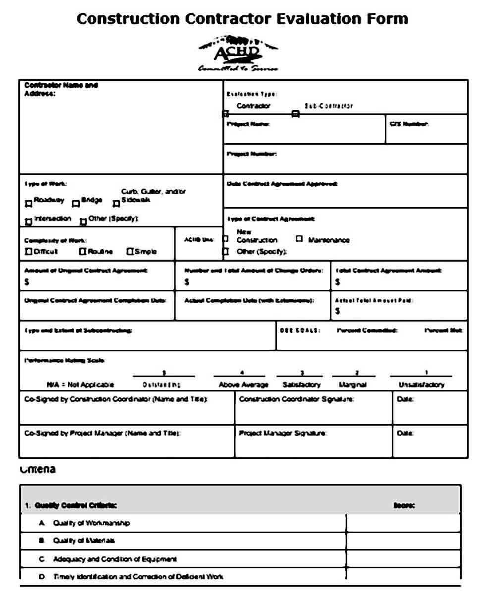Construction Contractor Evaluation Form