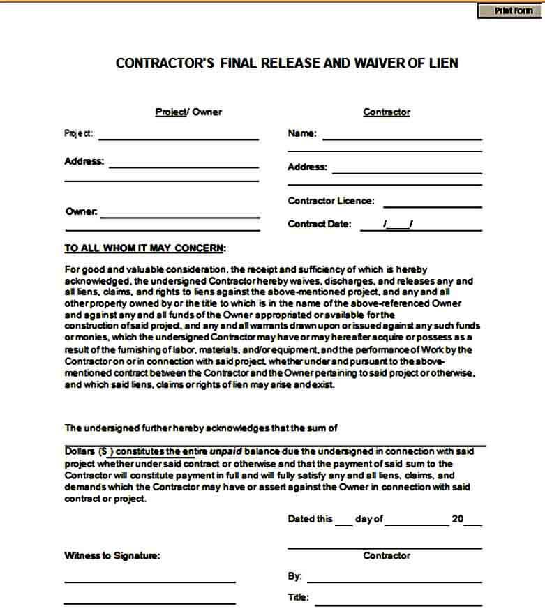 Contractor Lien Waiver Form