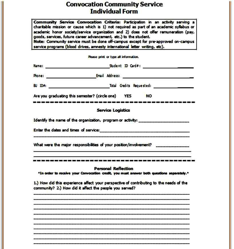 Convocation Community Service Individual Form