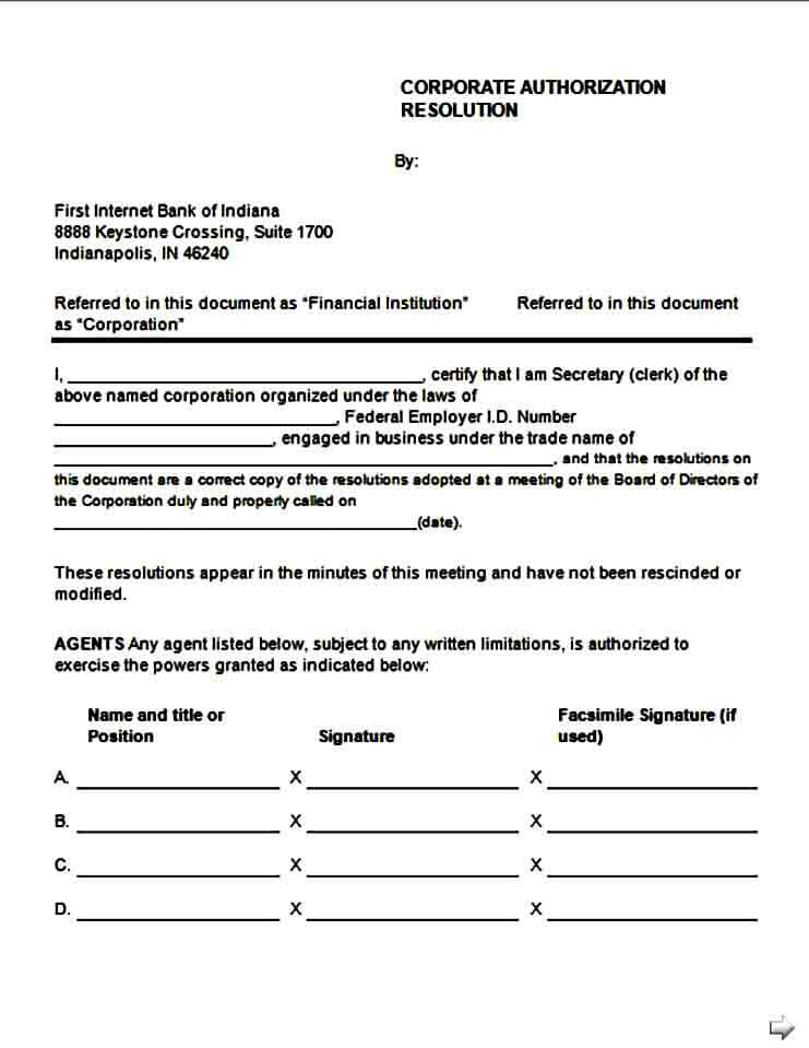 Corporate Authorization Resolution Form