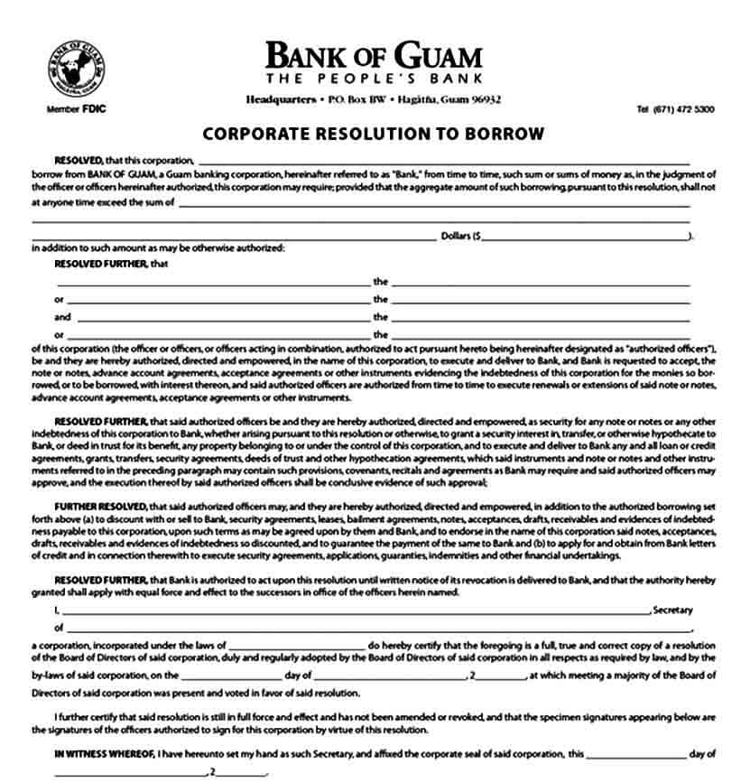 Corporate Borrowing Resolution Form