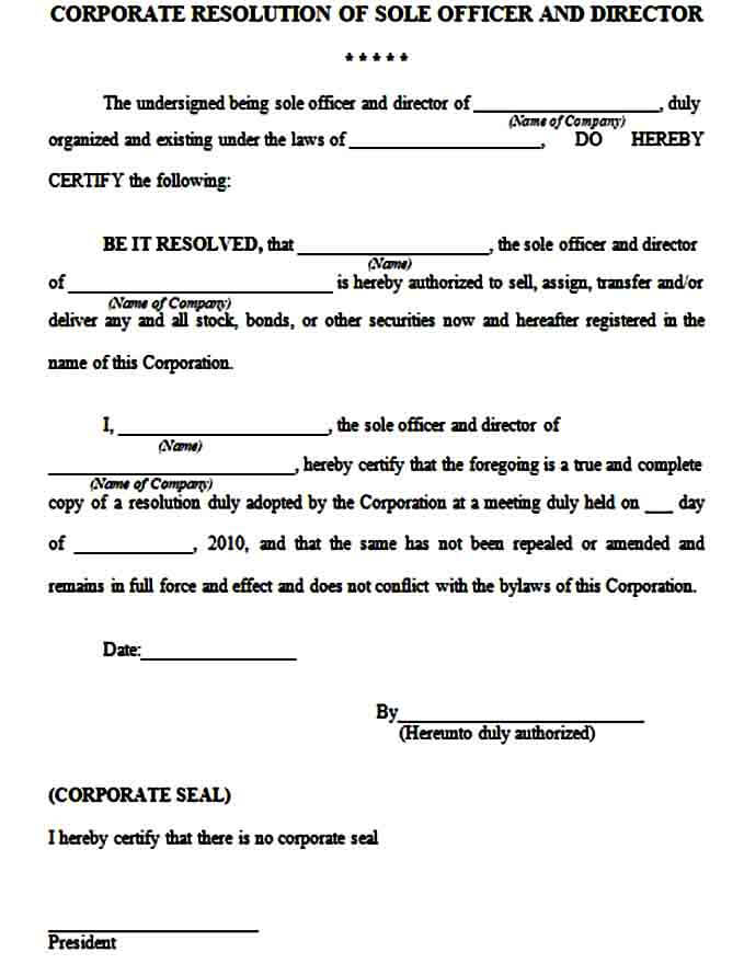 Corporate Resolution Form Format