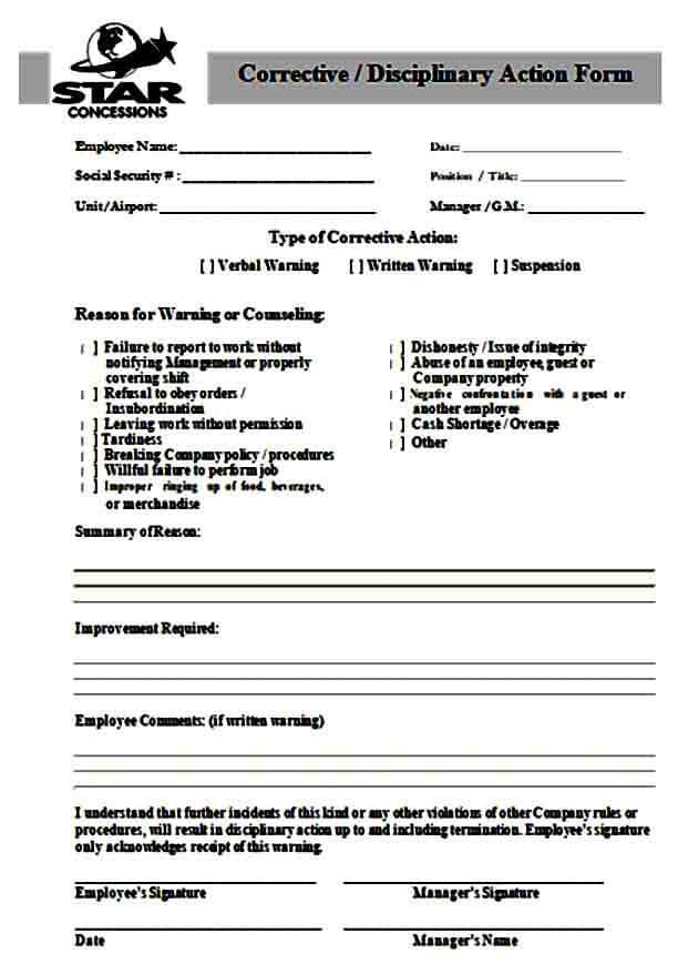 Corrective Disciplinary Action Form