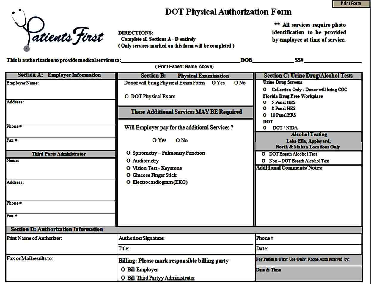 DOT Physical Authorization Form