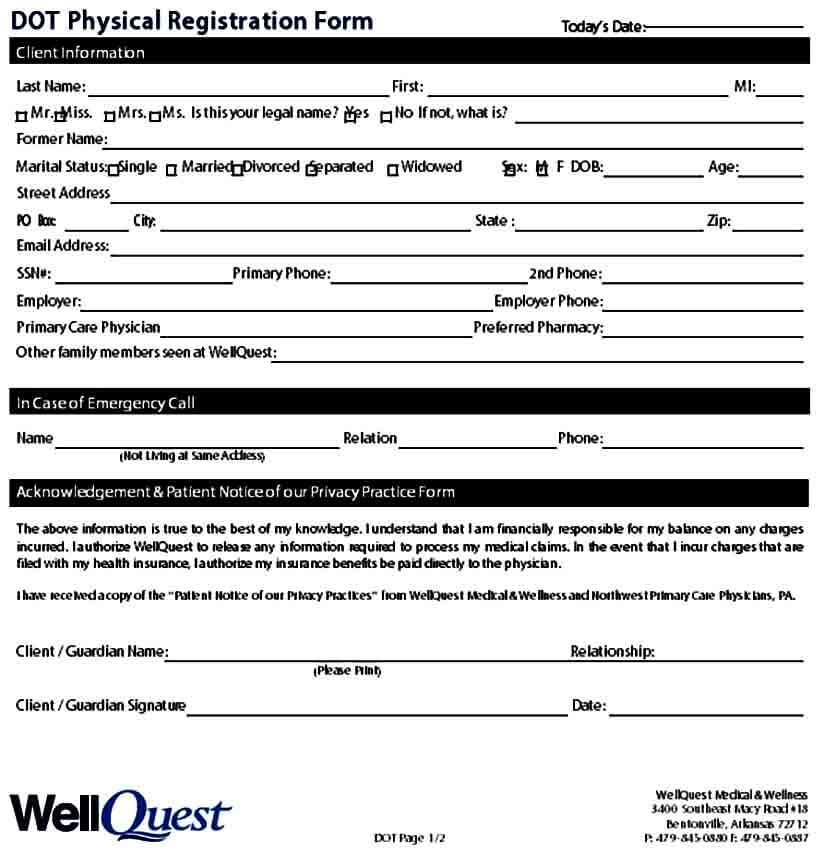 DOT Physical Registration Form