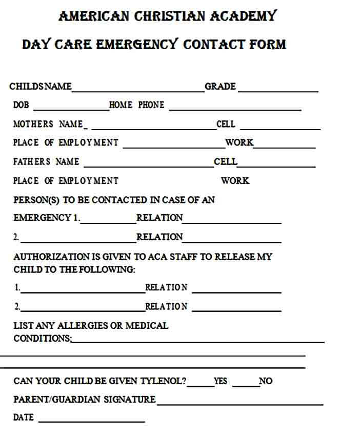 Daycare Emergency Contact Form