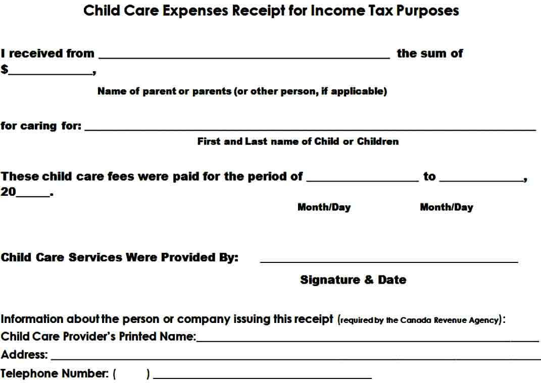 Daycare Tax Receipt Form