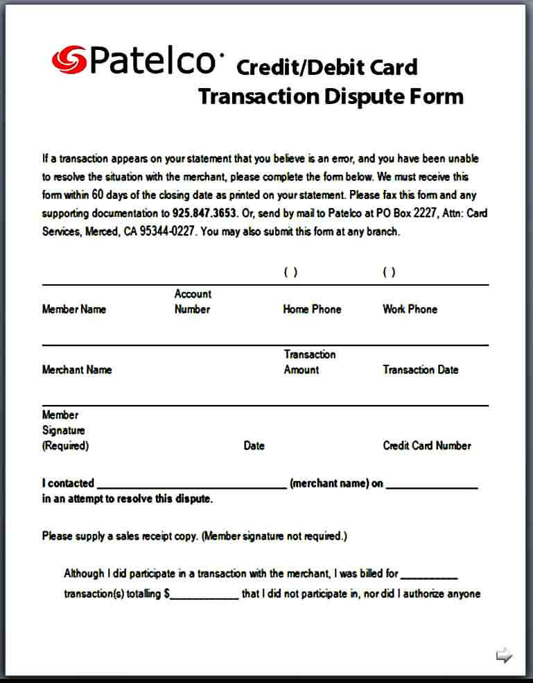 Debit Card Dispute Form in