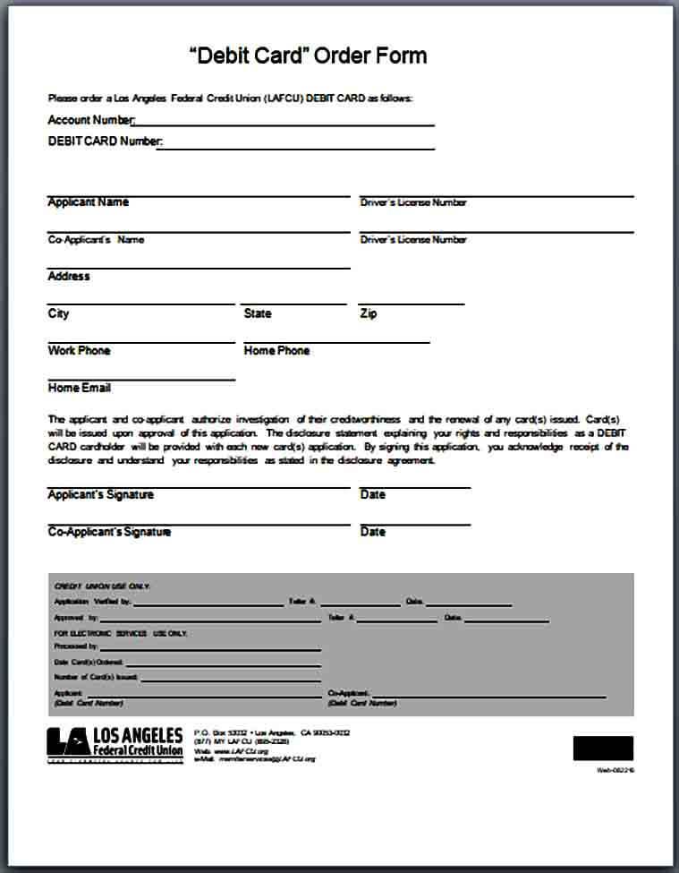 Debit Card Order Form Example