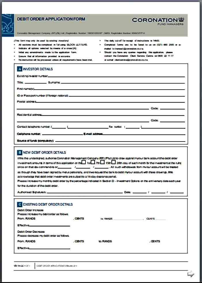 Debit Order Application Form