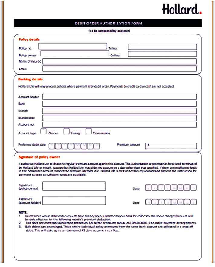 Debit Order Authorisation Form