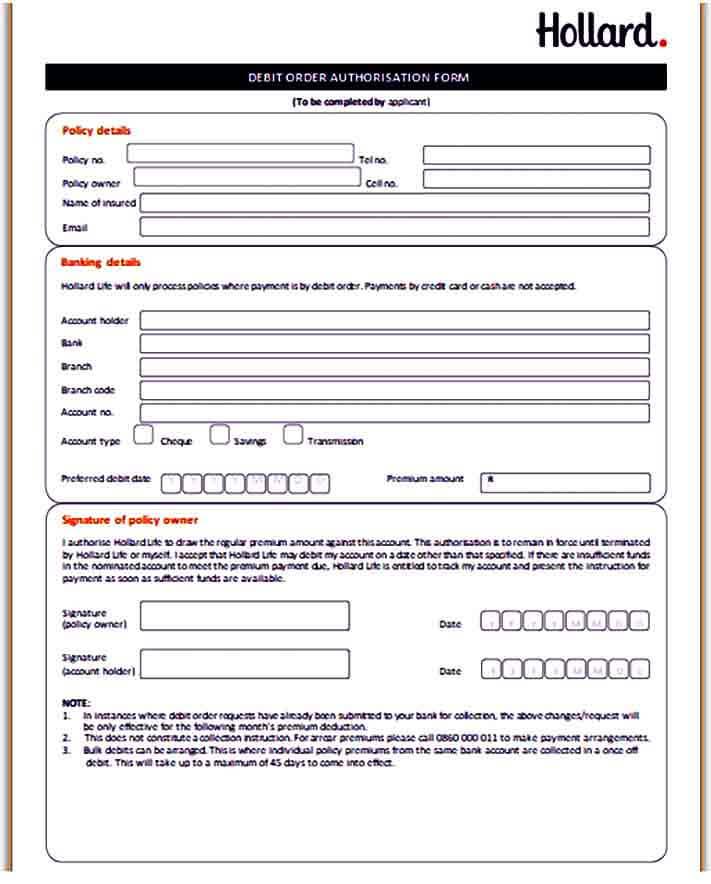 Debit Order Authorisation Form