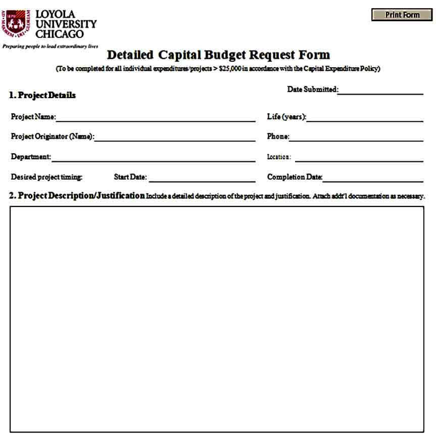 Detail Capital Budget Request Form