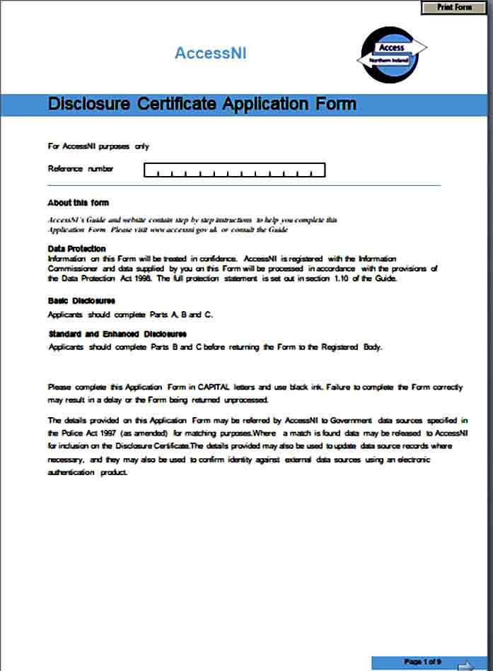 Disclosure Certificate Application Form