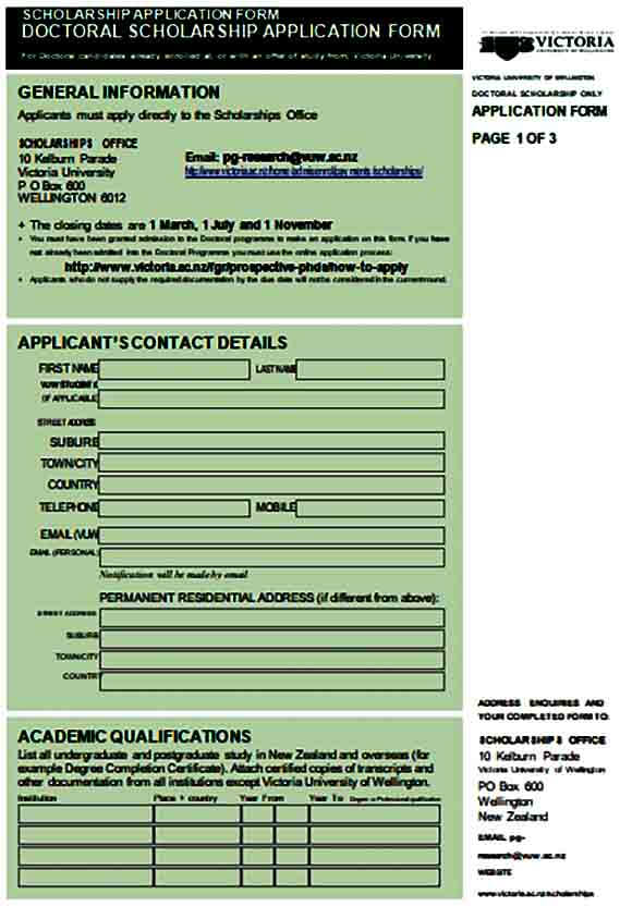 Doctoral Scholarship Application Form