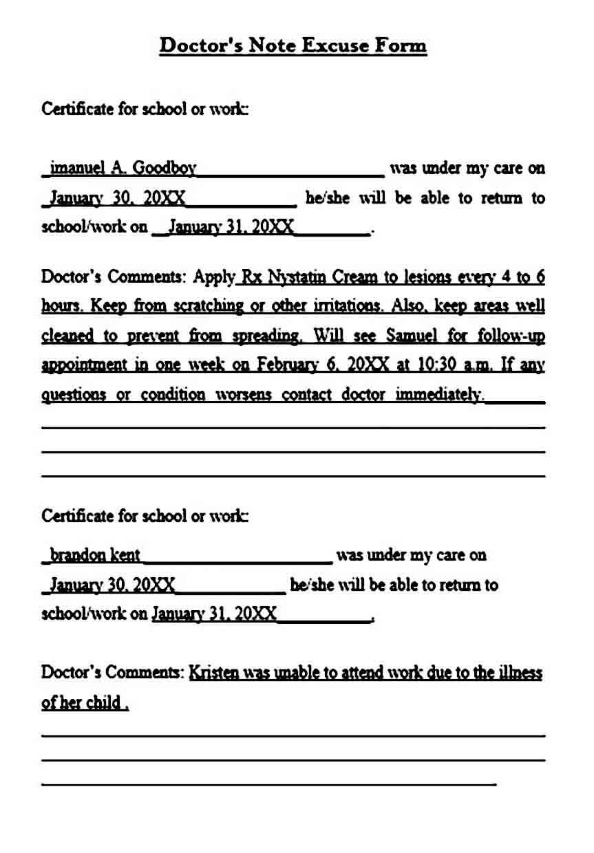 Doctors Note Excuse Form