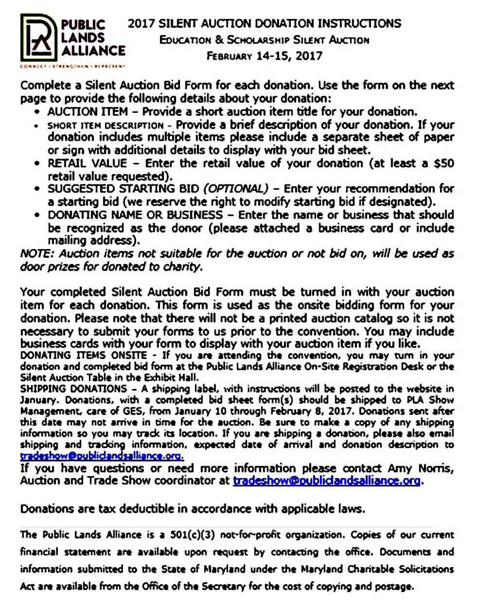 Donation Silent Auction Bid Sheet