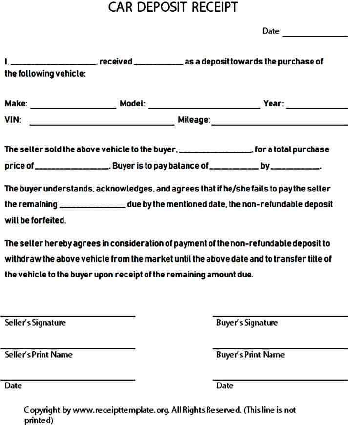 Down Payment Receipt Form