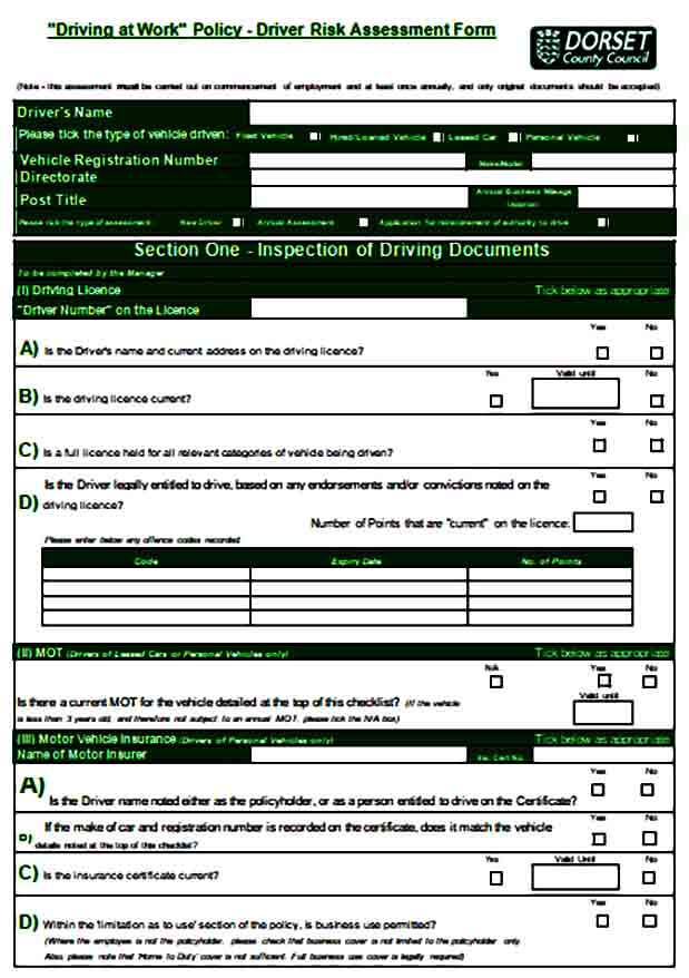 Driver Risk Assessment Form