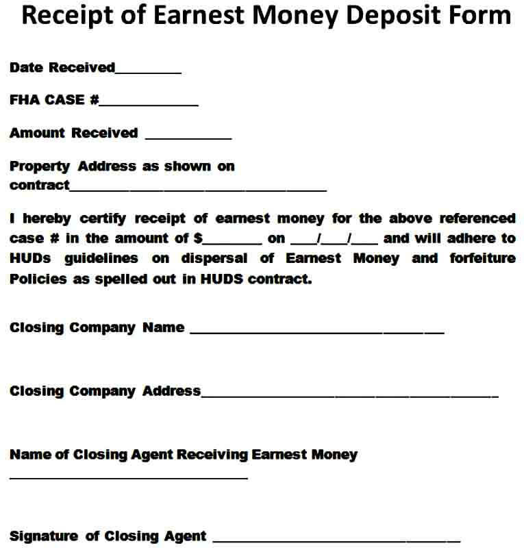 Earnest Money Receipt Form