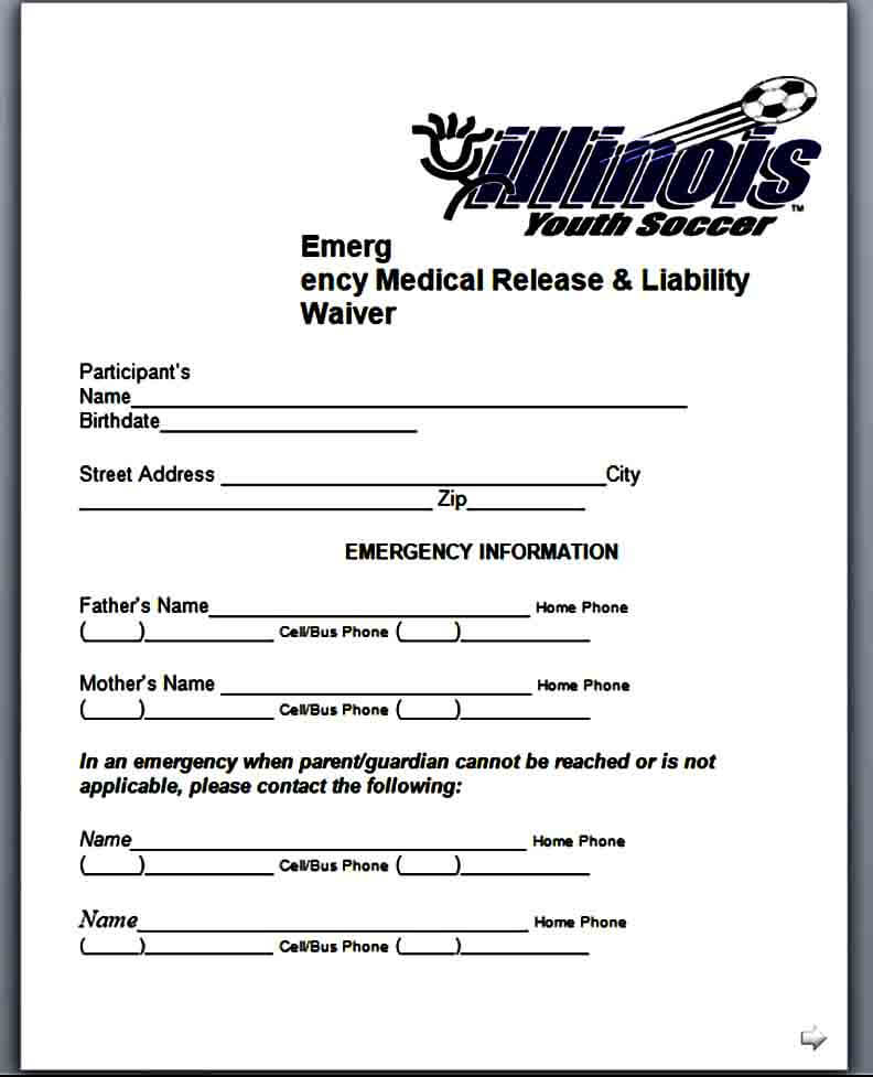 Emergency Medical Liability Waiver Form