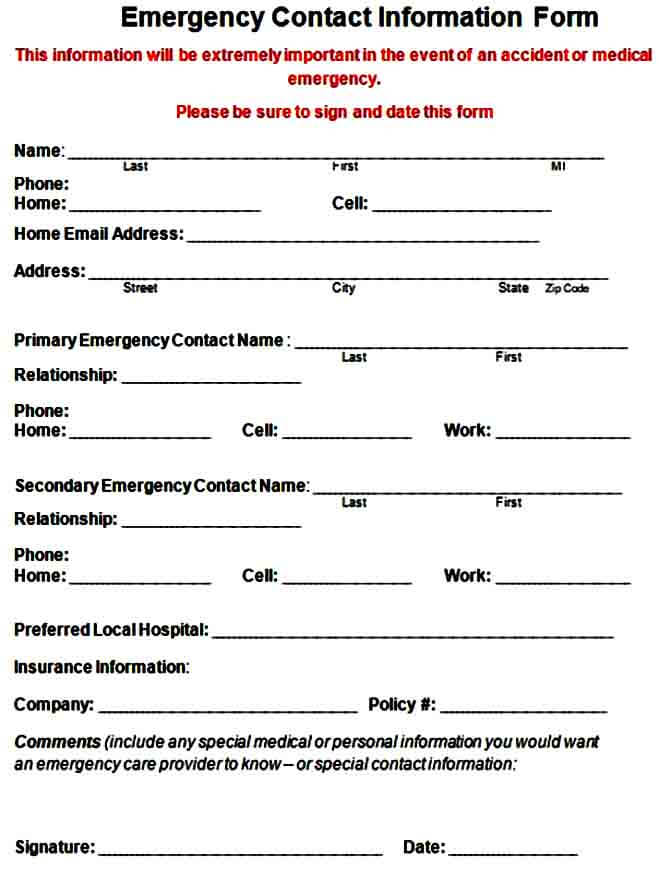 Employee Contract Information Form