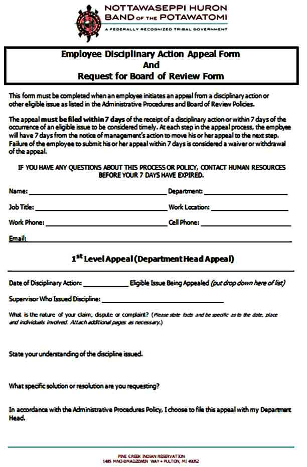 Employee Disciplinary Action Appeal Form