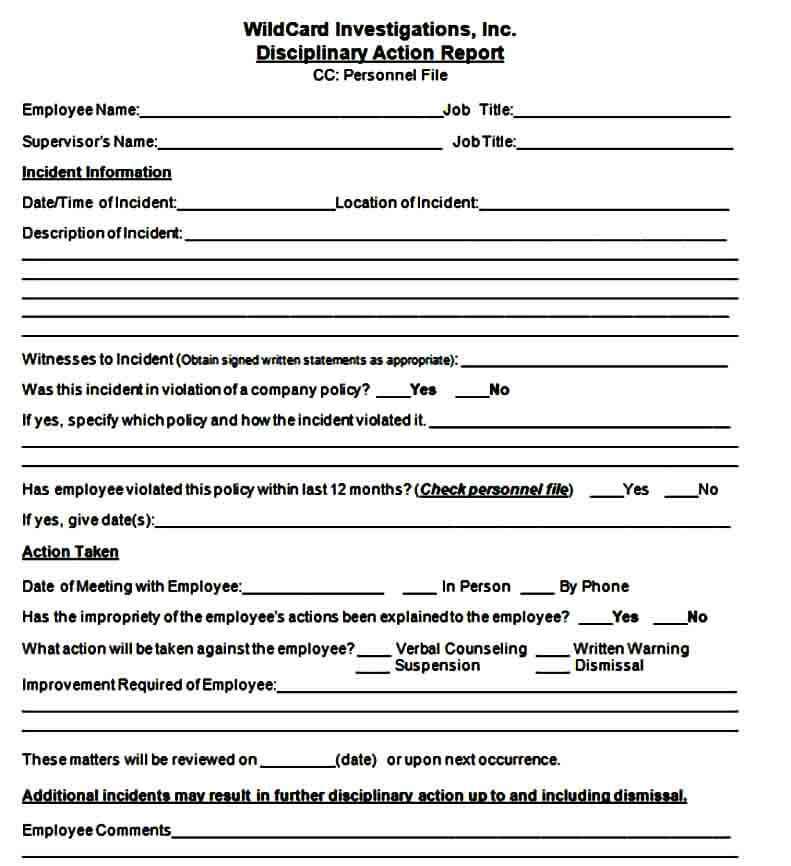 Employee Disciplinary Action Form Word