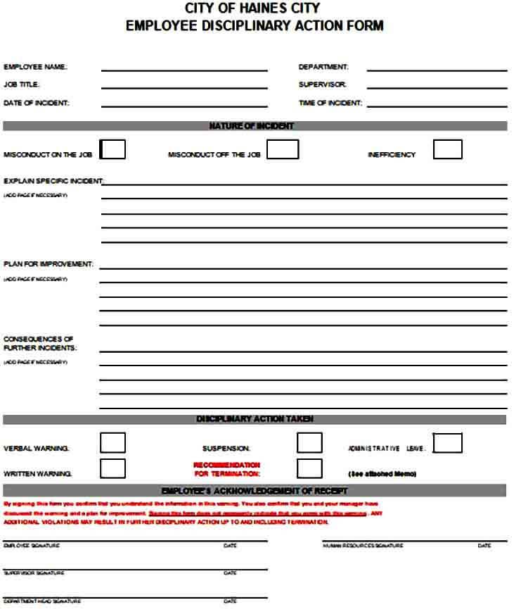 Employee Discipline Action Form