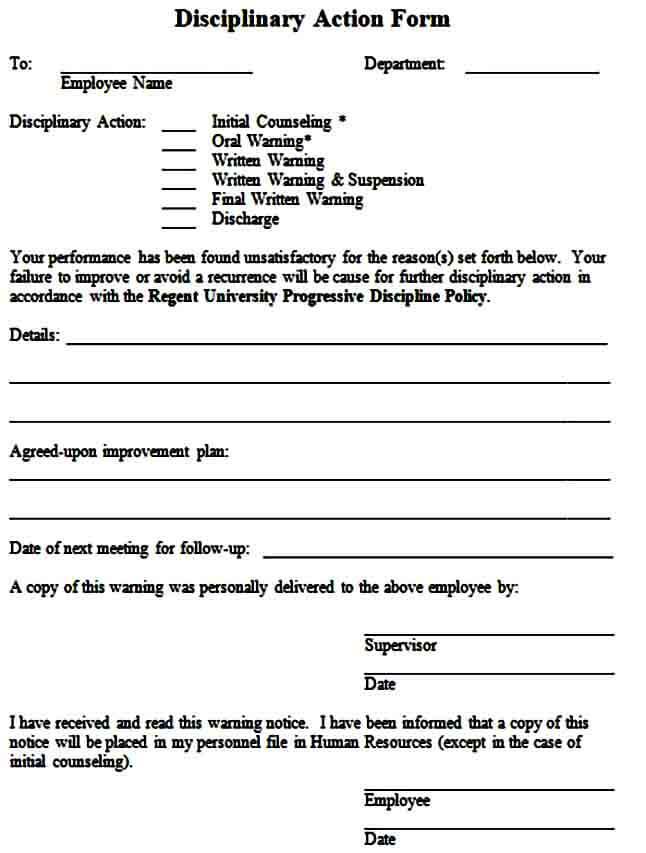 Employee Discipline Form in Word