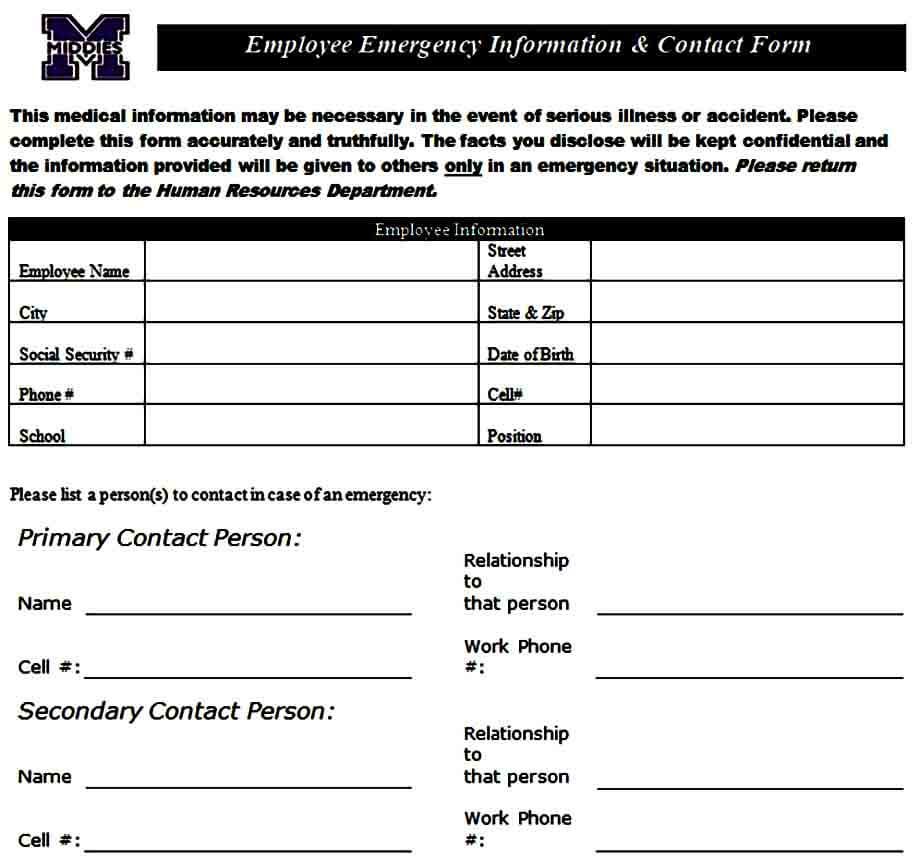 Employee Emergency Information Contact Form