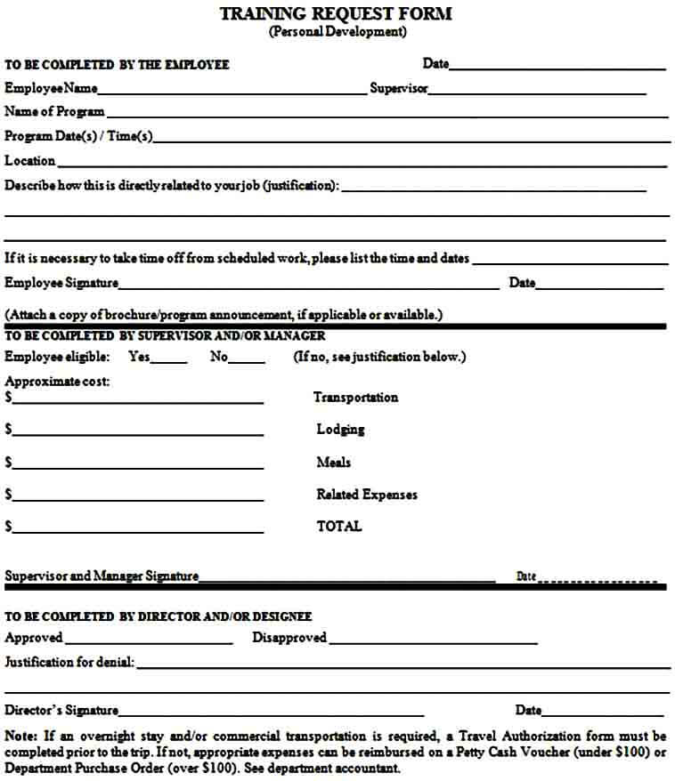 Employee Training Requisition Form